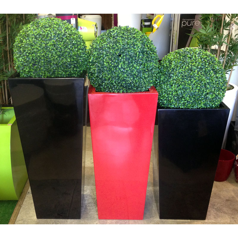 GRP Fibregl Tall tapered square planters from ;otstore.co.uk on
